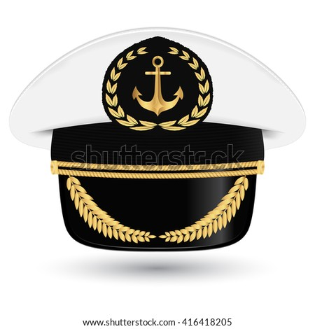 Captain peaked cap with cockade vector illustration isolated on white background  - stock vector