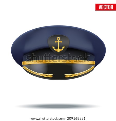 Captain peaked cap with gold anchor on cockade. Vector illustration isolated on white background. Cockade, marine corps emblem, marine corps symbol, marine emblem, marine symbol, marines symbol. - stock vector
