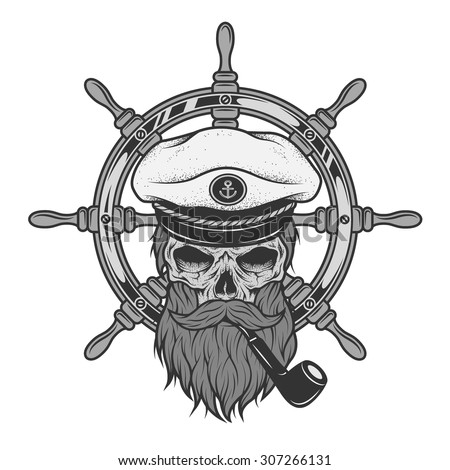 Captain Skull in a hat with a beard on a background of sea helm. - stock vector