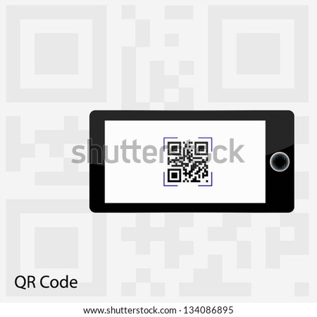 Capture QR Code on mobile phone - stock vector