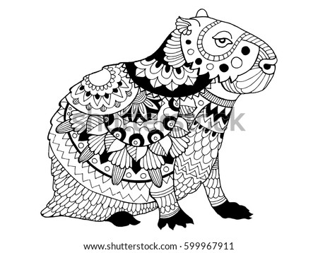 Capybara coloring book vector illustration black and white lines lace pattern