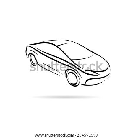 Car abstract lines vector design concept - stock vector
