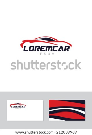 Car abstract lines vector logo design concept with business card template. Store, Repair services icon.  - stock vector