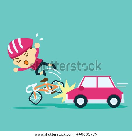 Image result for bike crashing into car clip art