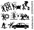 Car Accident Explosion Electrocuted Fire Danger Icon Symbol Sign Pictogram - stock photo