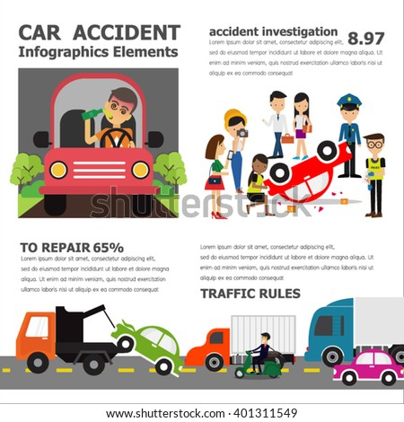 Car Accident infographic elements , vector illustration - stock vector