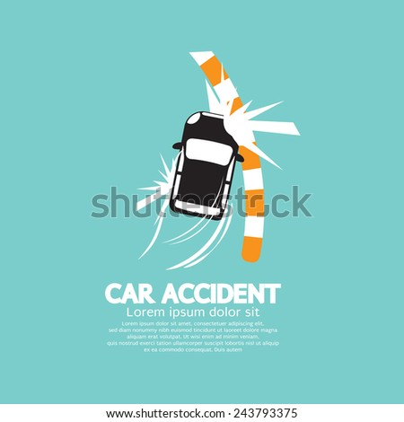 Car Accident With Footpath Vector Illustration - stock vector