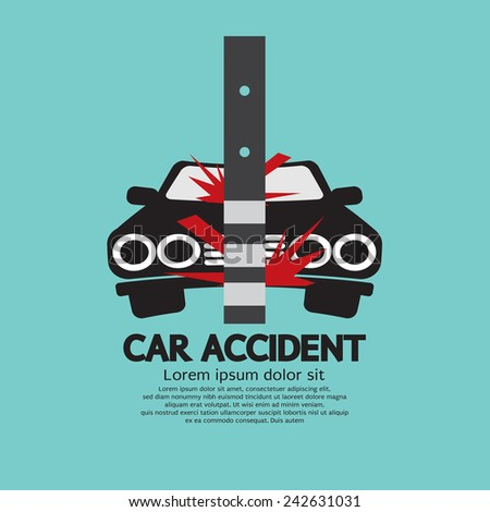 Car Accident With Pole Vector Illustration - stock vector