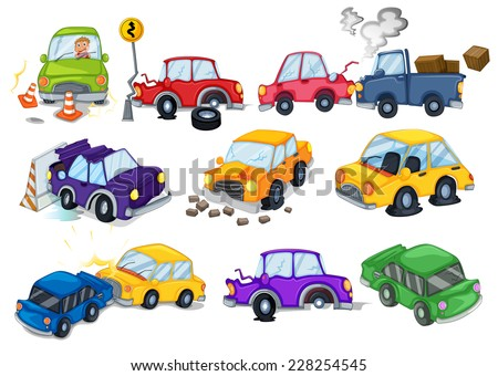 Car accidents set on white - stock vector