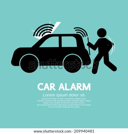 Car Alarm Piracy Prevention Symbol Vector Illustration - stock vector