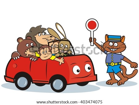 car and animals - stock vector