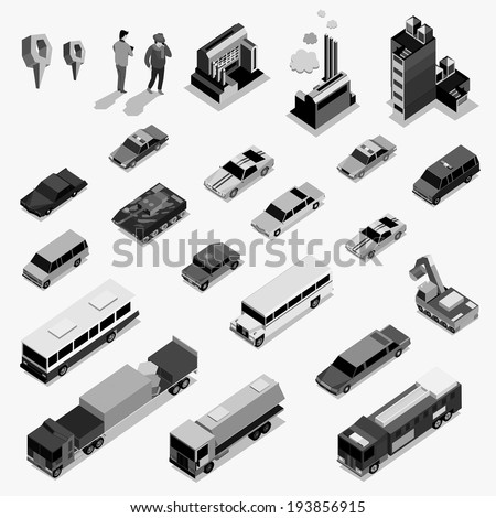 car and building isometric on black white color - stock vector