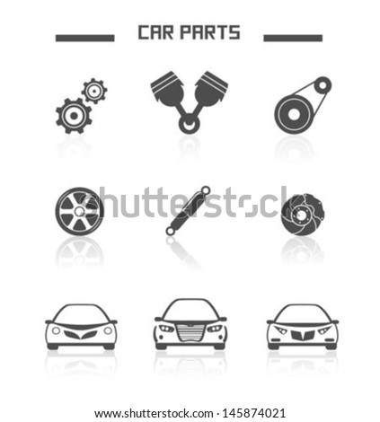 Car and Car parts - stock vector