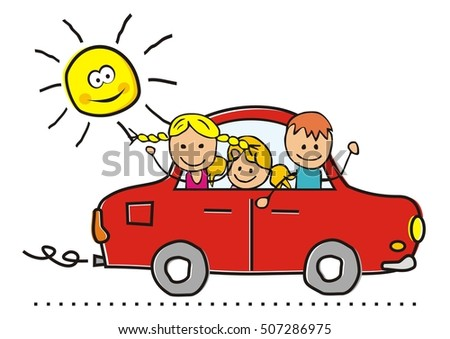 car and children, vector illustration