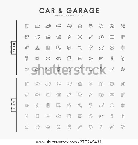 car and garage on bold and thin outline icons concept - stock vector