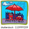 car and home insurance symbol hand draw - stock photo