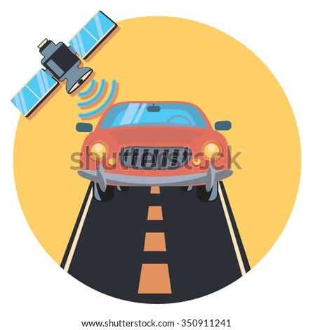 car and satellite circle icon with shadow - stock vector
