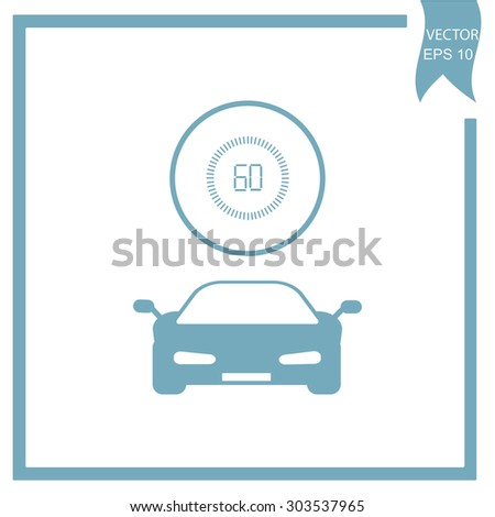 Car and speedometer - stock vector