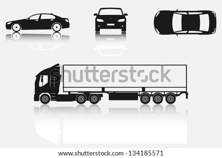 Car and truck silhouettes - stock vector
