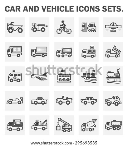Car and vehicle icons sets. - stock vector