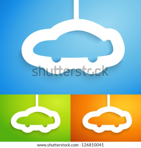 Car applique background in three color option. Vector illustration for your transportation presentation. Picture of the modern automobile. Easy to edit and change color. - stock vector