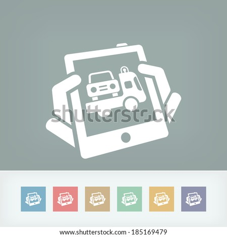Car assistance on tablet - stock vector