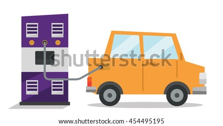 Car at gas station being filled with fuel vector flat design illustration isolated on white background. - stock vector