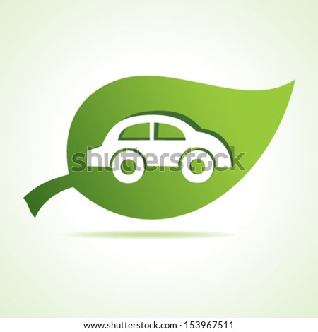 Car at leaf stock vector - stock vector