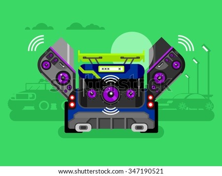 Car audio system. Music automobile, sound technology, stereo power speaker, flat vector illustration - stock vector