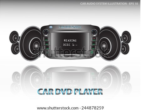 Car audio system (video and audio/car dvd player include radio/fm tuner/equalizer)  with speakers illustration, easy to modify - stock vector