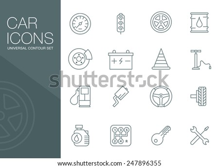 Car auto repair, auto parts. Simple linear style icons vector - stock vector