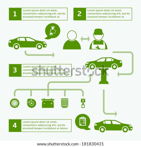 Car auto service brochure infographics layout template design with icons and arrows vector illustration - stock vector