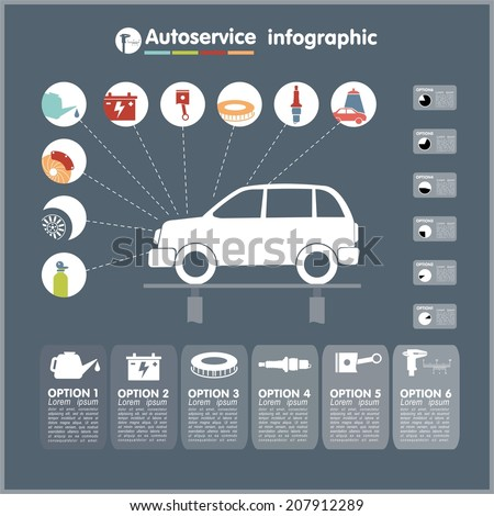 Car auto service infographics design elements with mechanical parts icons vector illustration - stock vector