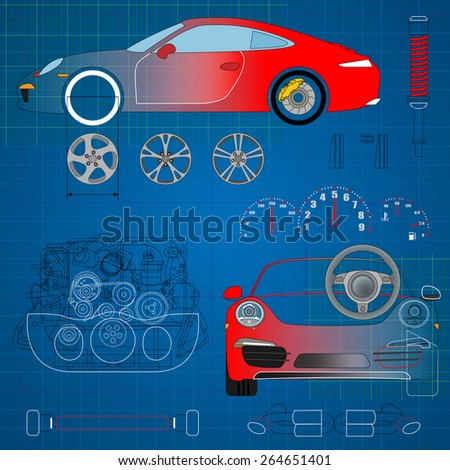 Car auto service infographics design elements with mechanical parts vector illustration. - stock vector