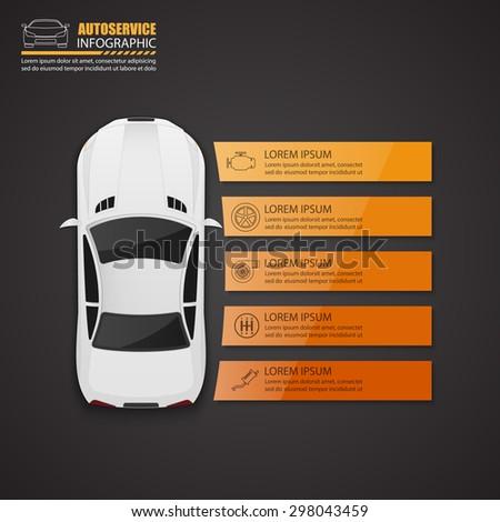 Car auto service infographics design.vector - stock vector