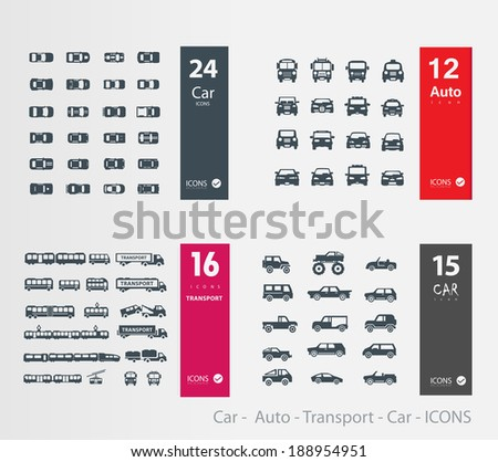 Car -  Auto - Transport - Car - ICONS - stock vector
