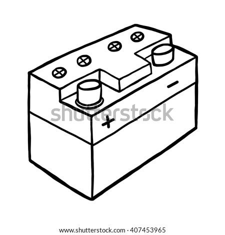 car battery / cartoon vector and illustration, black and white, hand drawn, sketch style, isolated on white background. - stock vector