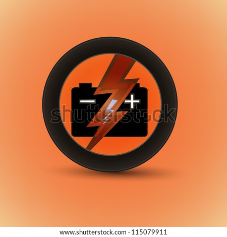 Car battery stickers - stock vector
