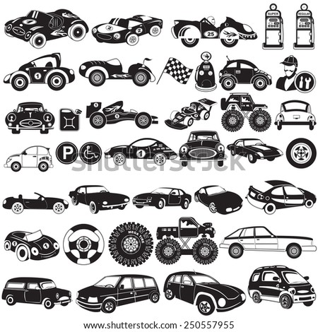 car black vector icons - stock vector