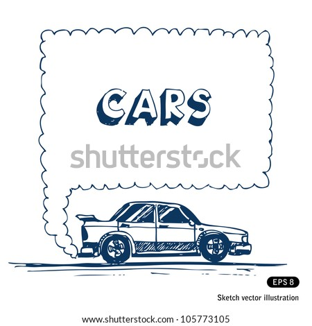 Car blowing exhaust speech bubble. Hand drawn sketch illustration isolated on white background - stock vector