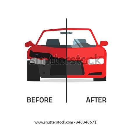 Car body frame repair vector illustration, auto body paint concept, automobile service, vehicle automotive technology help, before after, flat icon isolated on white badge, poster design banner emblem - stock vector