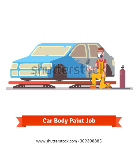 Car body paint job. Painting specialist spraying color on sealers masked auto. Car collision repair shop.  Flat style vector illustration isolated on white background. - stock vector