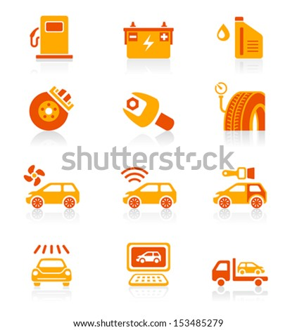 Car care, tuning, repair and services red-orange icon-set - stock vector
