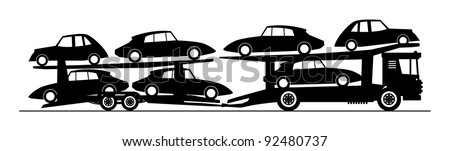 Car carrier truck deliver new auto, vector illustration - stock vector