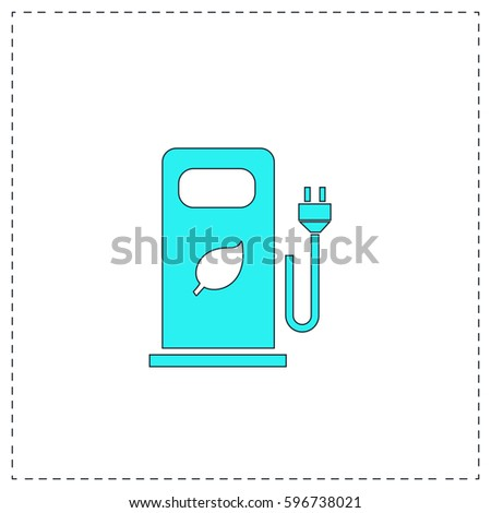 car charging station Outline vector icon with black editable stroke. Contour line blue pictogram on white background. Flat illustration symbol