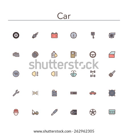 Car colored line icons set. Vector illustration. - stock vector