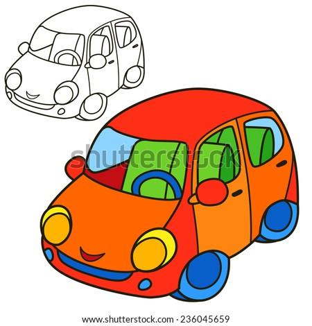 Car. Coloring book page. Cartoon vector illustration. - stock vector