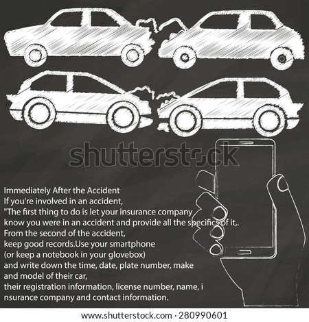 car crash and photograph sign sketch by chalk on blackboard - stock vector