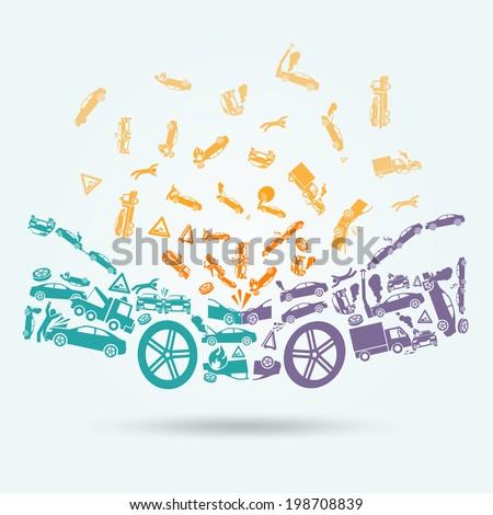 Car crash auto collision vehicle accident icons concept vector illustration - stock vector