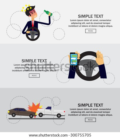 Car crash concept, infographics, vector illustration - stock vector